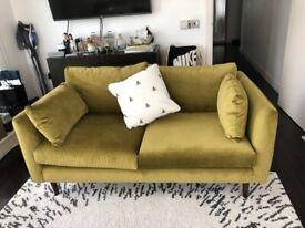 Designer Sofa (in Green Velvet)