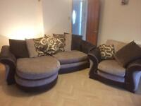 DFS brown chaise sofa and chair
