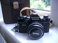 KONICA FP-1 PROGRAM 35mm SLR camera with 50mm lens NECK STRAP and case