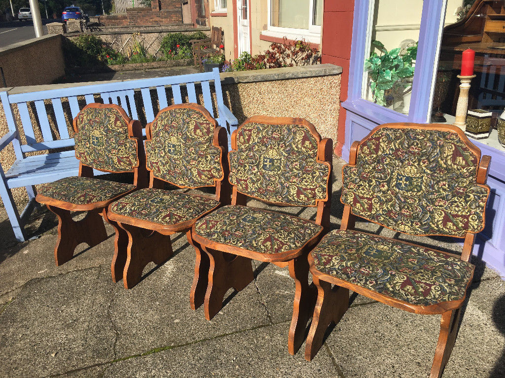 Adorable Set of 4 Handmade Carved Antique Oak Upholstered Dining Chairs