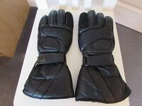 USED BLACK LEATHER MOTORCYCLE GLOVES SIZE XL