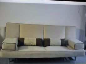 Sofa Bed 3 Seaters Beige for Sale