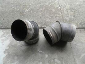 Two Stainless steel 45deg elbows used on wood burner flue– single wall