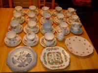 Mismatched Set 17 China Cups, Saucers, Side Plates + 3 Sandwich Plates, Pink / Blue, Good Quality
