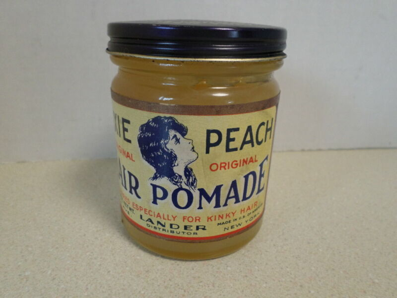 VINTAGE  DIXIE PEACH HAIR POMADE ANTIQUE JAR THE LANDERS CO NEW YORK BARBER