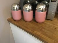 Three retro American diner Americana pill shaped storage jars retro storage canisters tea coffee ect