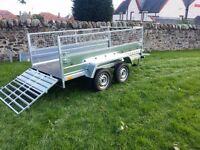 New car trailer 8.7 x 4.1 twin axle-build mesch and ramp £1250 INC VAT spare wheel free