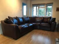 Sofology Burgundy Brown Leather Sofa, Oval Shaped Corner