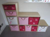 Girls playroom or bedroom stepped storage unit