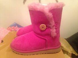Brand New-Genuine Pink Bailey Button UGG Boots-size U.K. 12