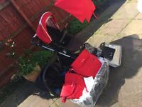 Silver cross red chilli pioneer travel system