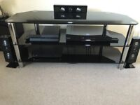 Black Glass TV Unit (chrome legs), excellent condition