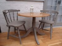 Small Farmhouse/Bistro Dining Table & Two Spindle Back Chairs. Solid Oak/Annie Sloan French Linen.