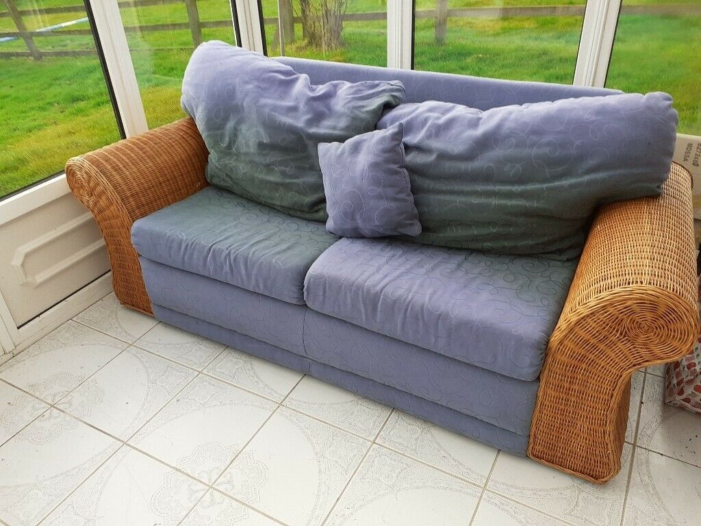 Rattan/wicker sofa bed   in Exeter, Devon   Gumtree