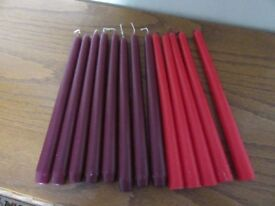 TAPER CANDLES UNLIT 10inch TALL 8 X MAROON & 5 X RED