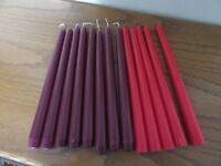 TAPER CANDLES UNLIT 10inch TALL 8 X MAROON & 5 X RED