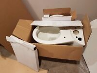 Brand new never used white toilet pan cistern and soft close seat