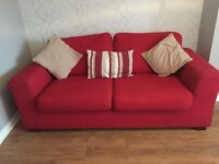 2 x three seater sofas and matching footstool from DFS