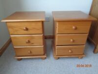 BEDSIDE CABINETS with DRAWERS. SOLID PINE