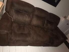 3 seater Brown recliner sofa for sale
