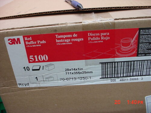 """3M 5100 14"""" x 28"""" Red Buffing Pad - 10/Case"""