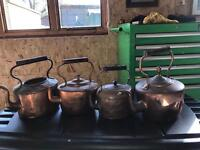 Copper kettles/ copper pans /brass candle sticks /two brass bullets ornaments