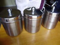 Stainless steel containers for tea, coffee, sugar with lids, excellent condition