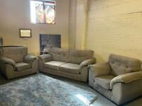 HARVEYS GREY FABRIC SOFA SET IN EXCELLENT CONDITION 3-1-1 seater