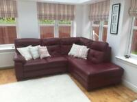 Beautiful Reid's Leather Corner Settee Sofa