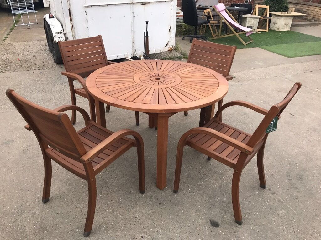Garden Furniture 4 Seater almeria 4 seater round wooden garden furniture set table chairs
