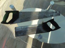 Spear & Jackson hand saw and Stanley tennon saw. £2 each.