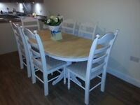 Eloquent Oval Shabby Chic Extending table set