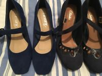 Two pairs ladies blue shoes size 4