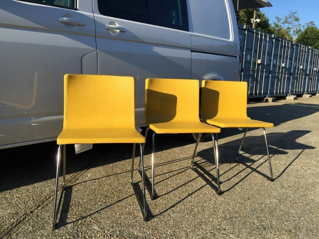 3 IKEA BERNHARD Chairs , Dark Yellow, Chrome Plated Frame Legs, Excellent  Condition (