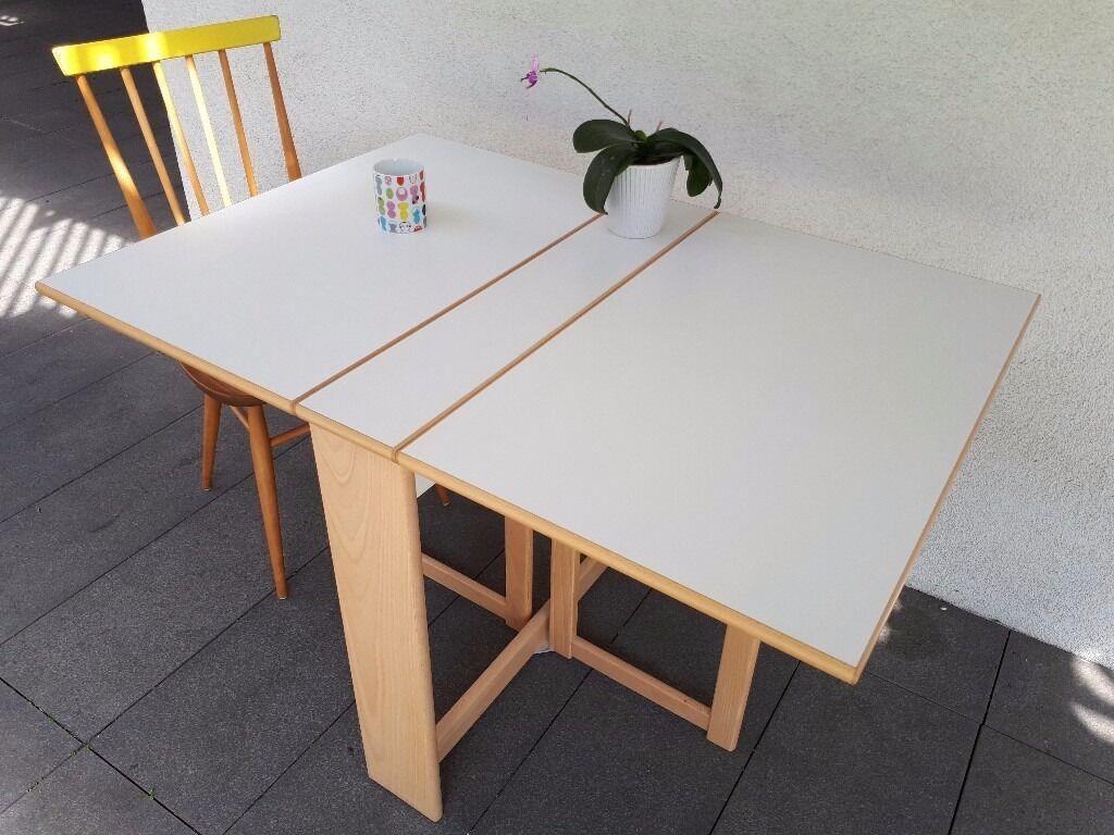 Amazing White Folding Dining Table, Habitat Drop Leaf Gate Leg Oak Wood With  Formica Melamine Top