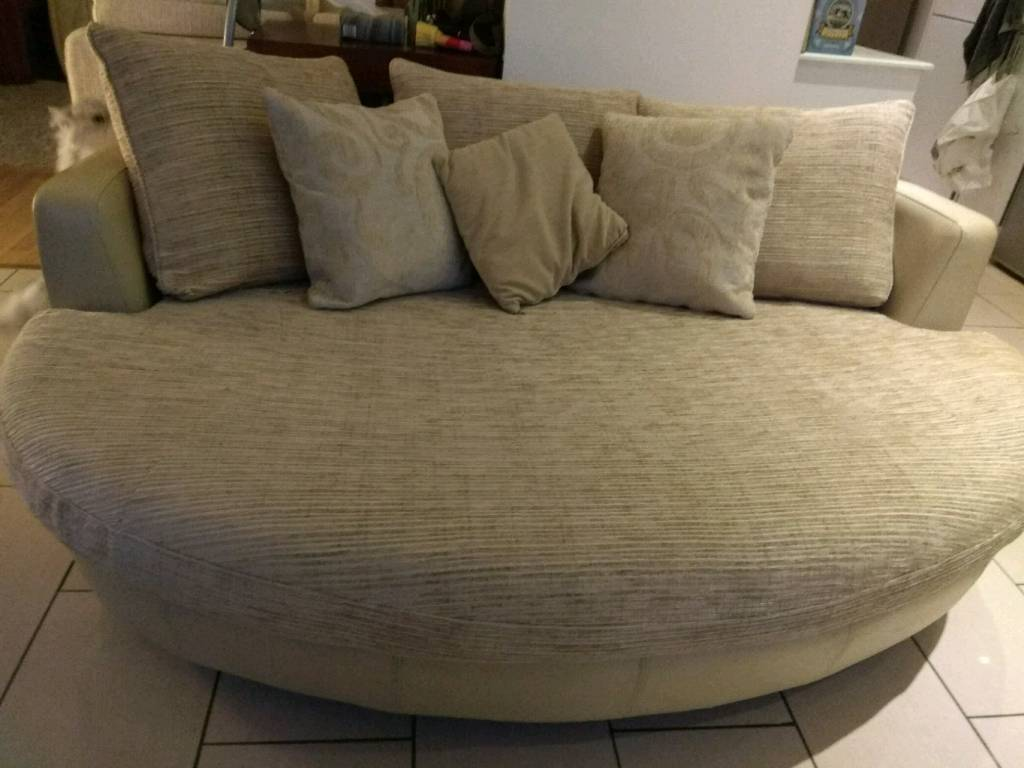 Gorgeous Large DFS Cream Leather Fabric Snuggle Cuddle Love Sofa 3/4 Seater Oval  Couch