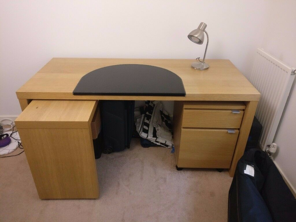 Ikea Malm Desk With Pull Out Table, Filing Cabinet And Leather Worktop