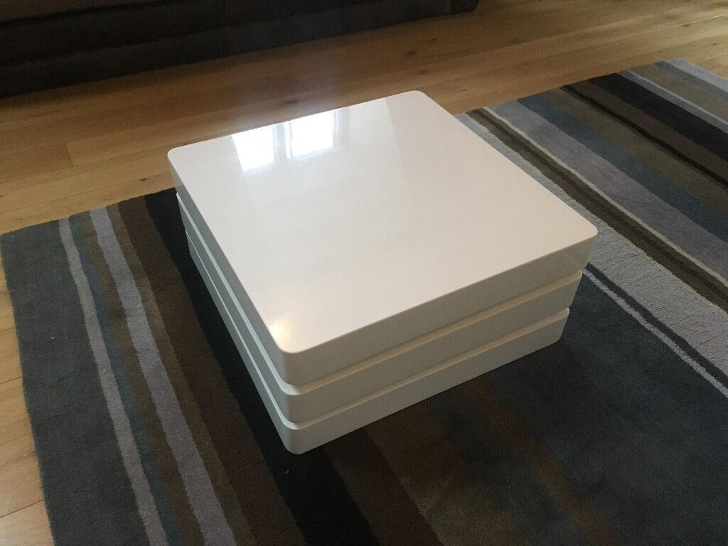 Beautiful Rotating Square Coffee Table   White