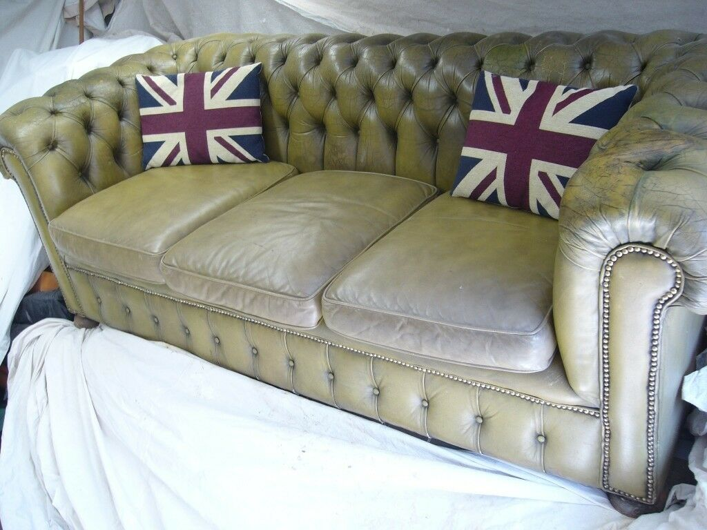 Beau QUALITY VINTAGE LEATHER CHESTERFIELD SOFA SETTEE ANTIQUE OLIVE BROWN GREEN  BUTTON BACK RARE