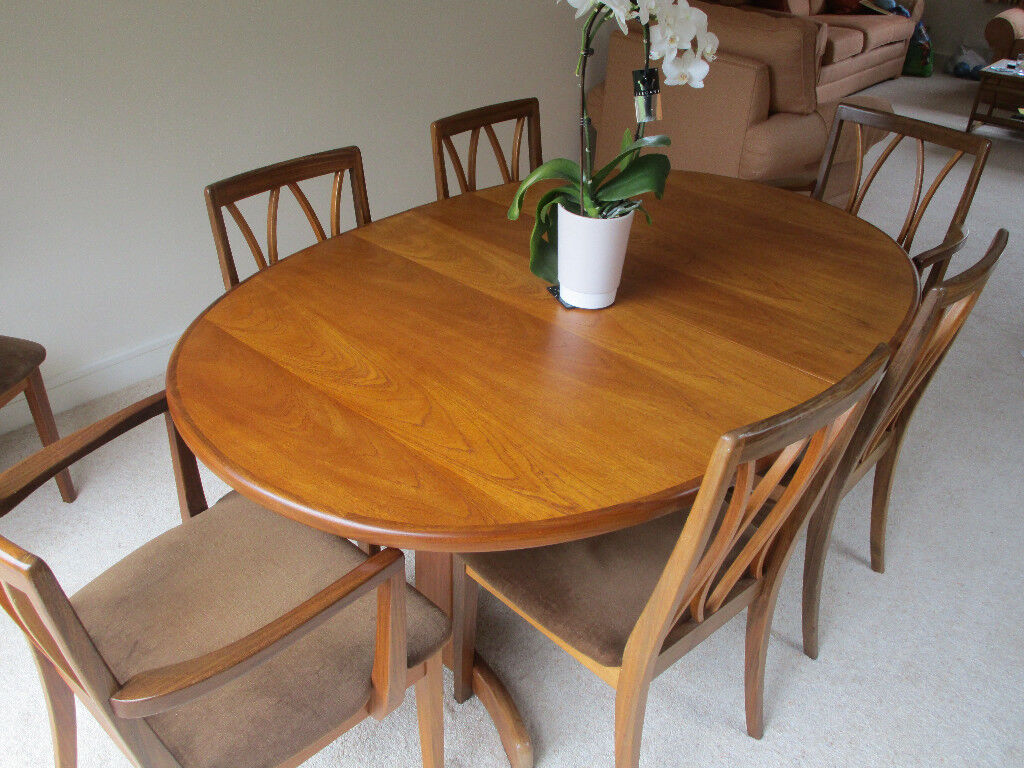 Solid Teak Dining Room Set   Dining Table, Eight Chairs And Two Matching  Storage Units