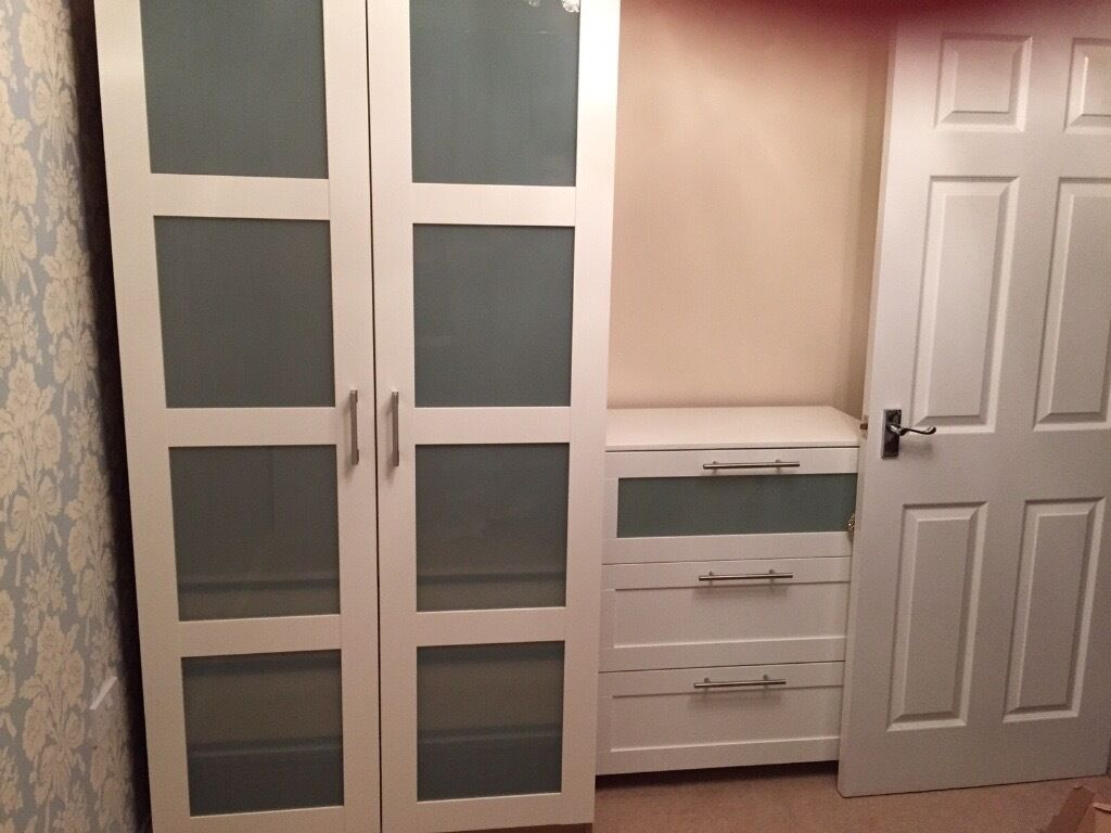 Beau IKEA Pax Wardrobe With Frosted Glass Doors.