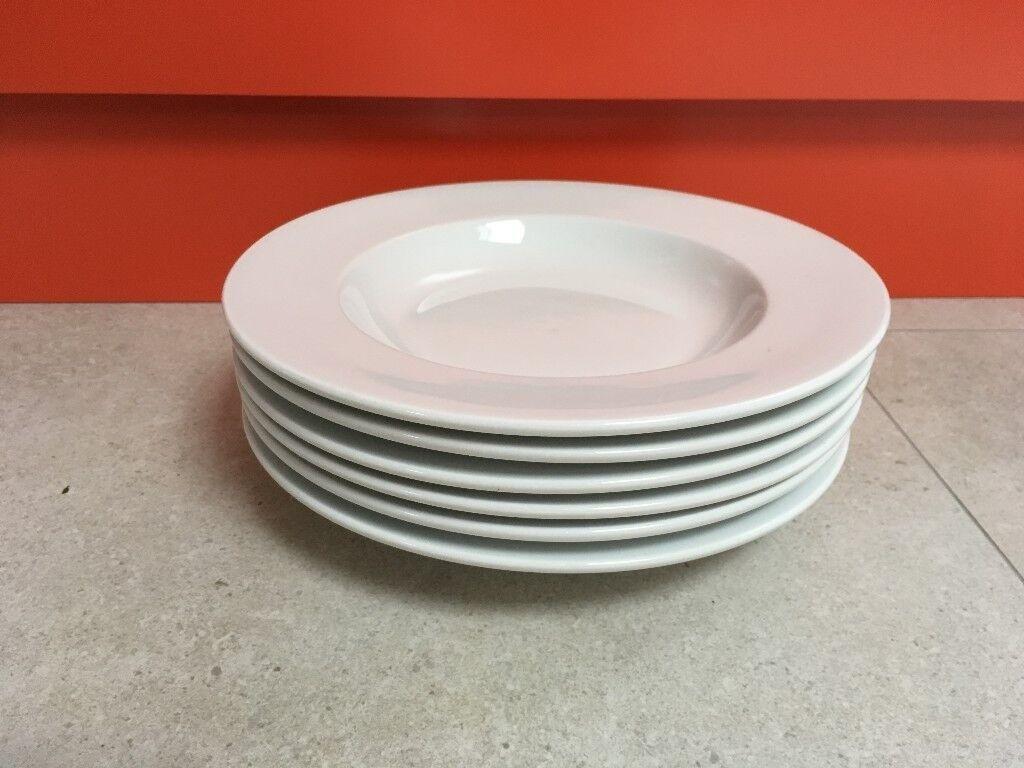 Set of 6 large pasta plates from LSA - white porcelain crockery made in Poland & Set of 6 large pasta plates from LSA - white porcelain crockery made ...