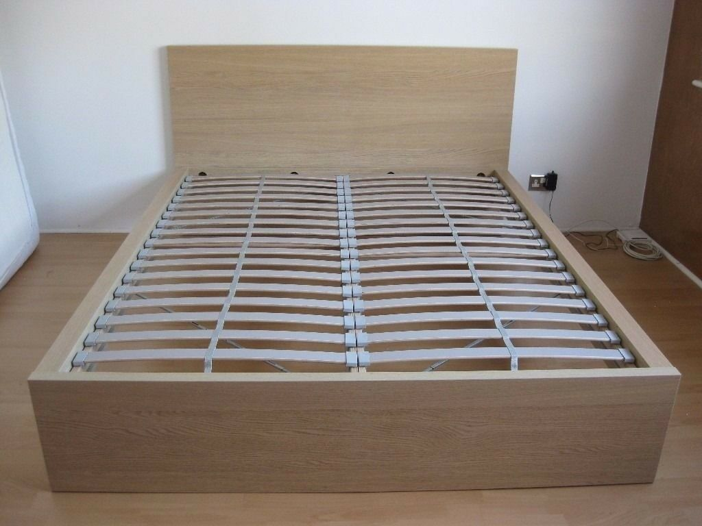 MALM LOW DOUBLE BED; Oak From IKEA   With / Without Mattress   Pick Up