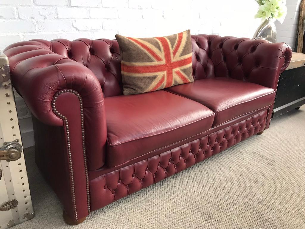 Burgundy Chesterfield Sofa. Excellent Condition. Can Deliver | In West  Mersea, Essex | Gumtree