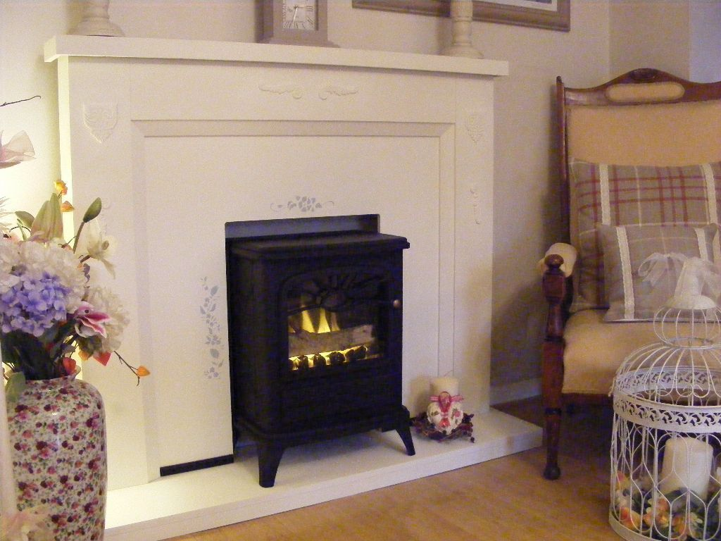 A So Pretty Laura Ashley Painted Shabby Chic Ivory Painted Electric Fire Suite  Fireplace Surround