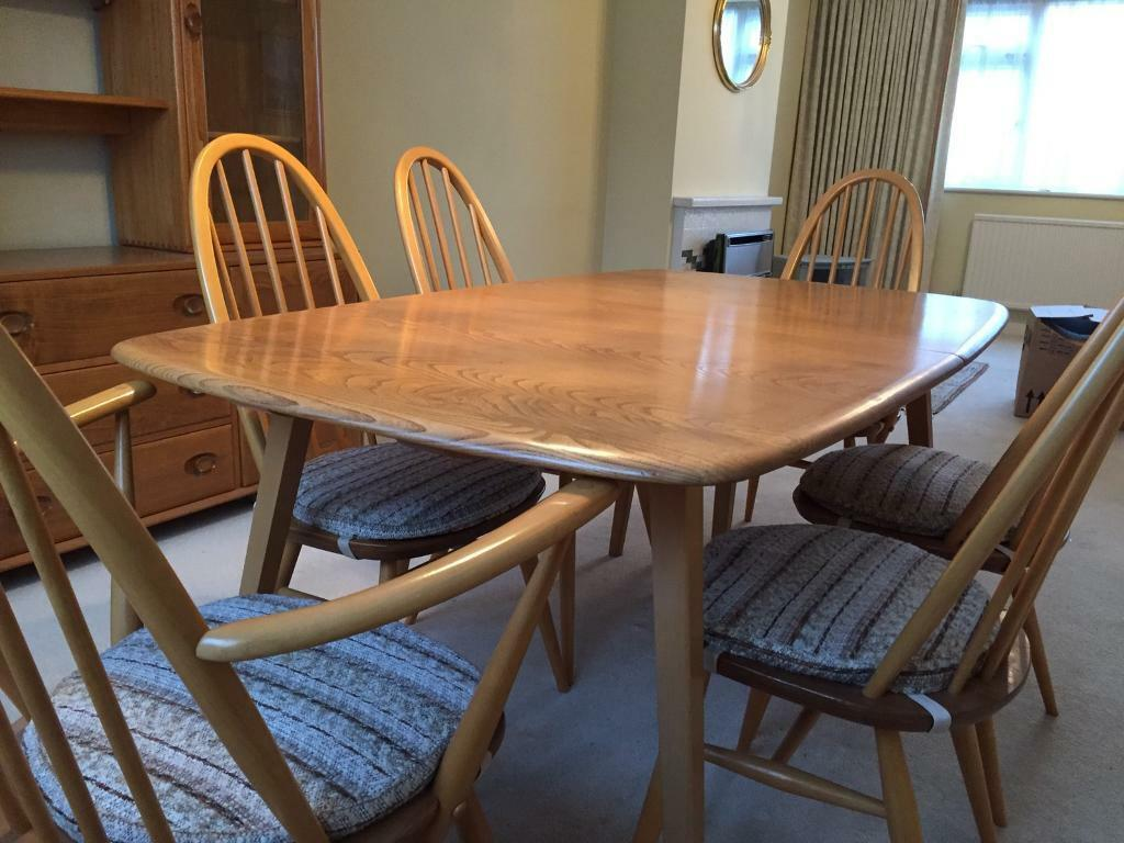 Vintage Ercol Dining Table And 6 Chairs   Original 510, 365 And 365a