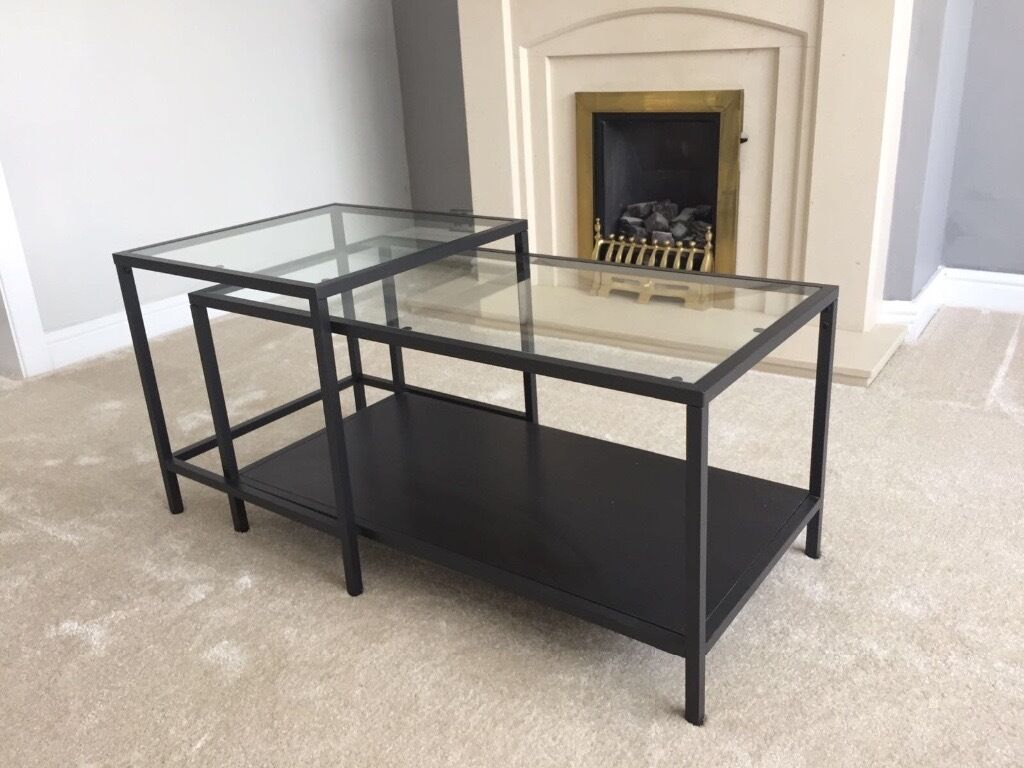 Coffee Table (nest Of Two Interlocking Tables) Perfect Condition Glass And  Black Metal