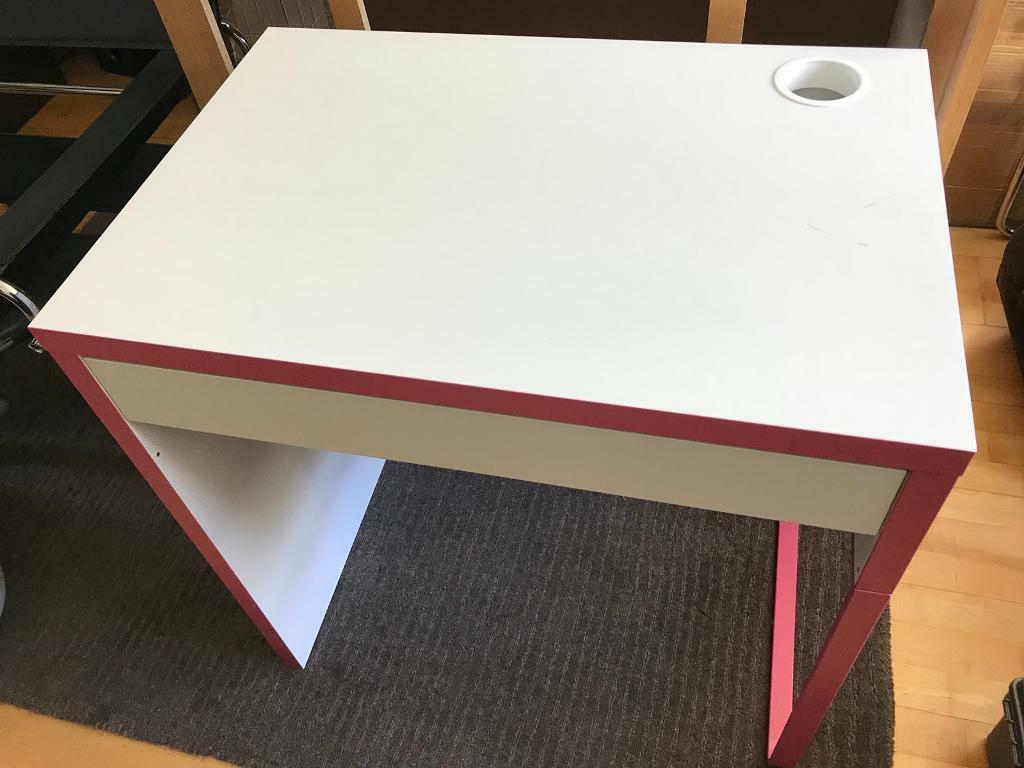 Pink White Ikea Micke Desk Study Table Computer Table U0026 Shelf Kids Child  Girls Bedroom