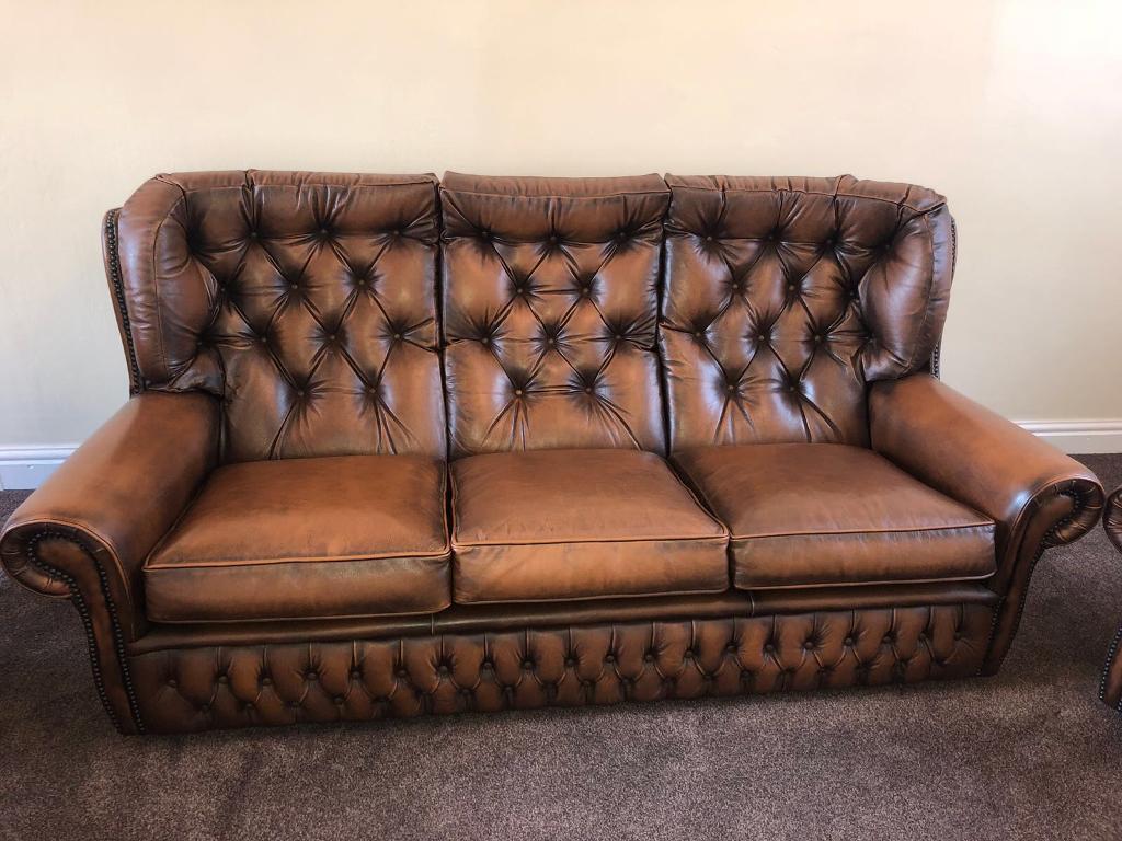 Sofa Leather Button Back Sofa