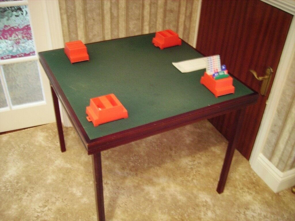 Wooden Fold Up Bridge Card Table With Green Baize Surface And Bidding Boxes